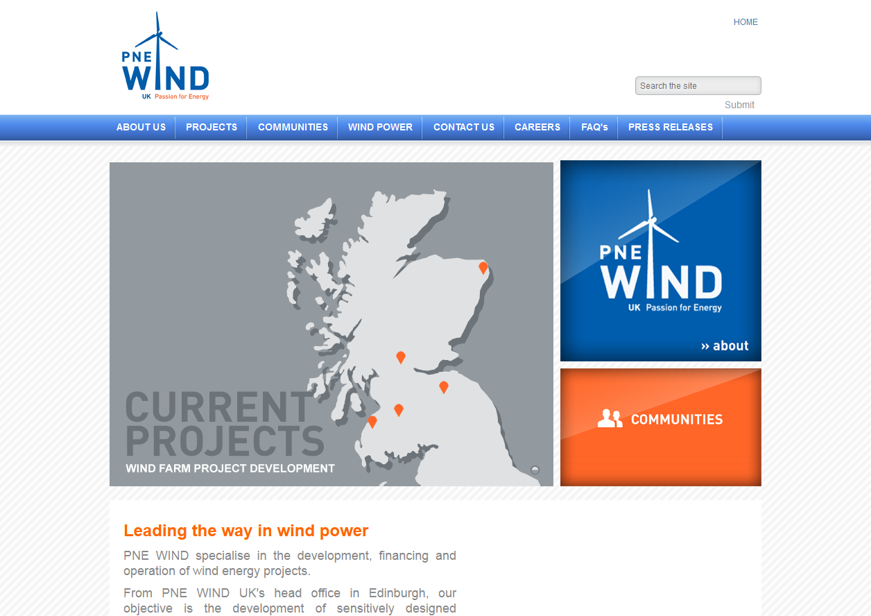 PNE Wind UK and Microsites